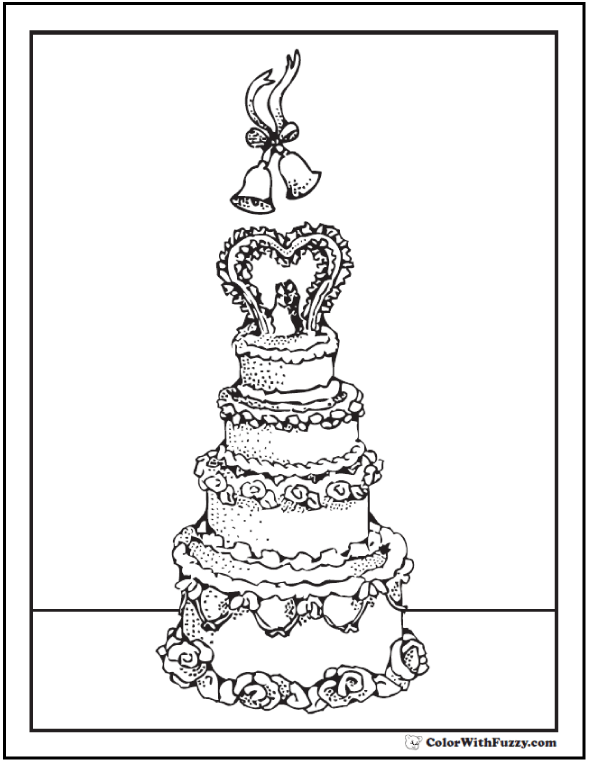 Bells and wedding cake coloring sheet.