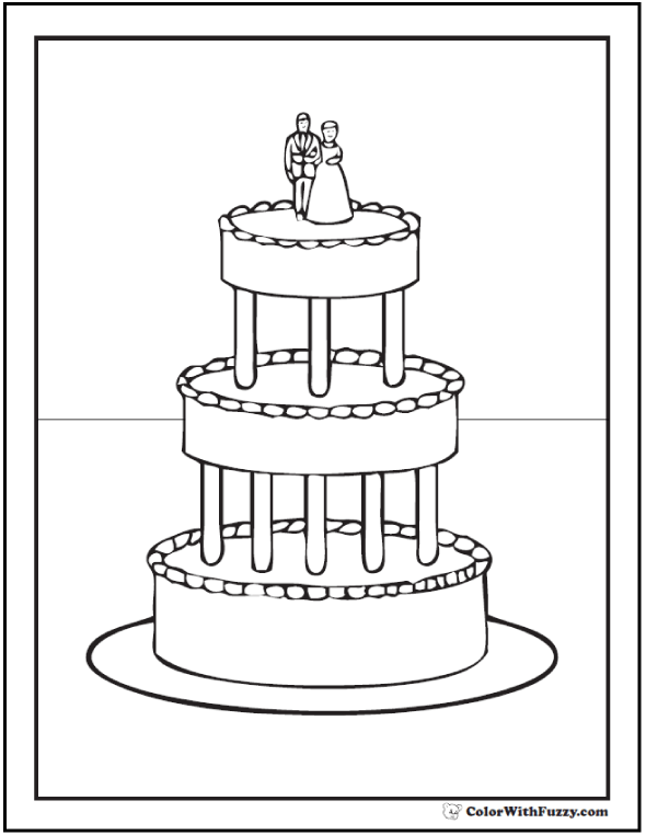 Elegant Wedding Cake Coloring