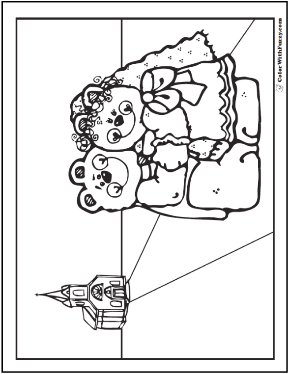 Wedding Teddy Bear Coloring PDF. Love Forever!