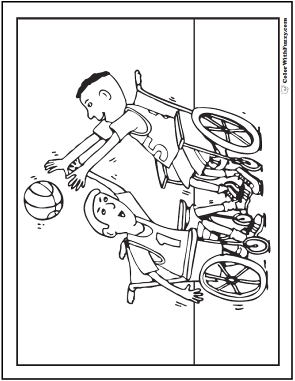 Wheelchair Basketball Coloring Page To Print