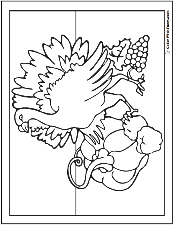 Wild Turkey Coloring Pages Printable: pumpkin, grapes, peppers