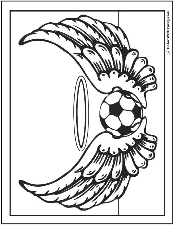 Tournament Winged Soccer Ball Coloring Page
