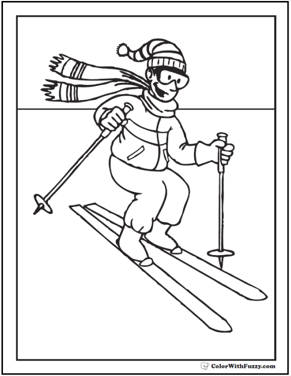 Skiing Winter Sports Coloring