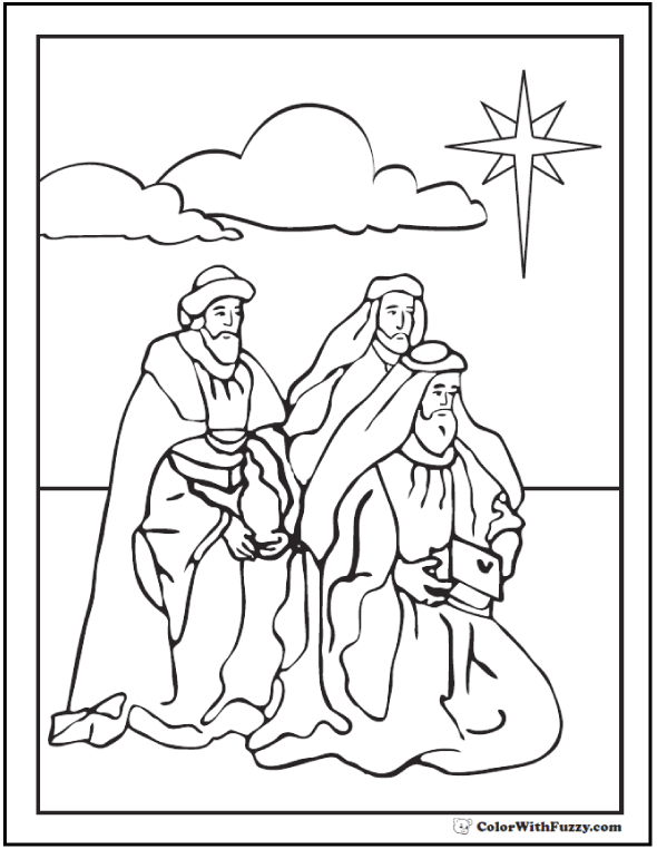 Christmas Coloring Pictures: Wise Men Coloring Sheet - Magi And Star