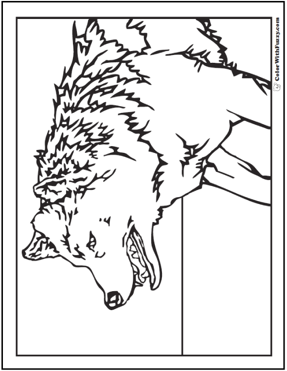 Wild and wonderful wolf coloring sheet.