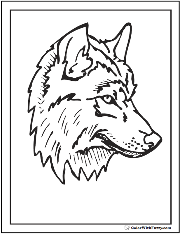 Wolf head coloring page for kids to color.