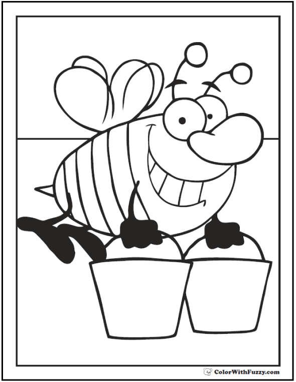 Drone bee coloring page: Bee carrying two buckets while flying.