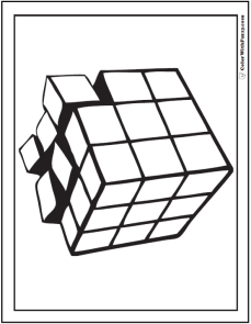 3D Geometric Coloring Pages: Cube morphing into cubes.
