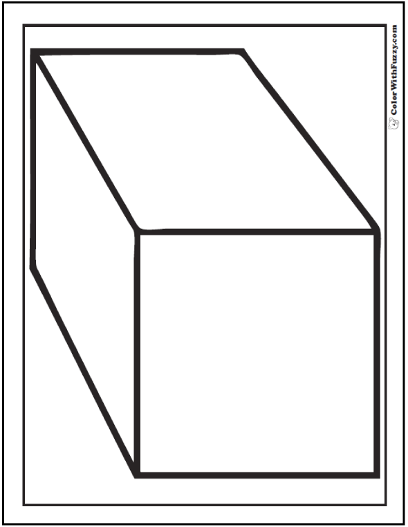 3D Rectangle Coloring Page