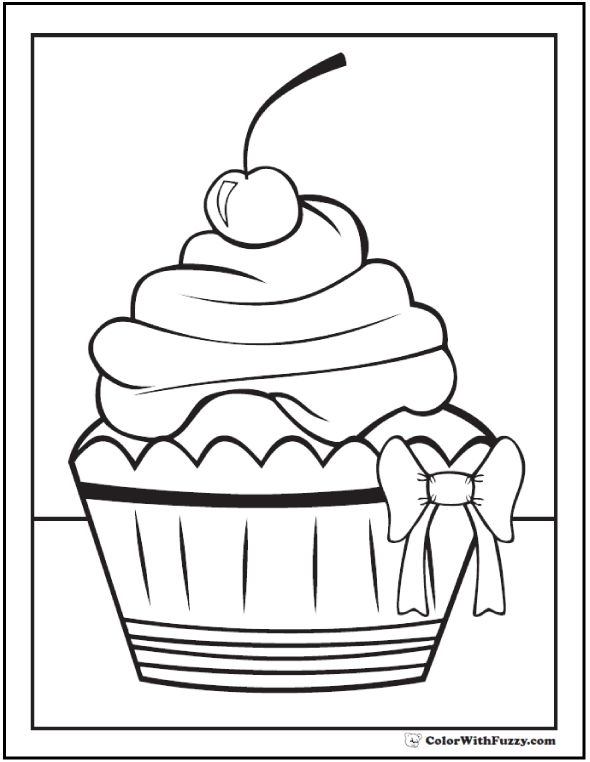 Cherry Cupcake With Bow Coloring Page