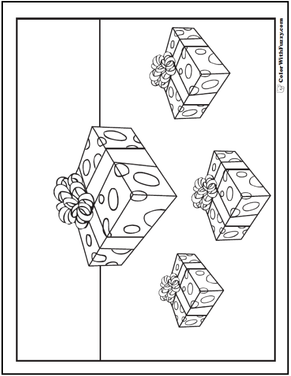 Christmas Present Coloring Pages: Count four gifts.
