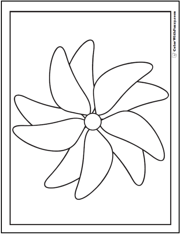 Coloring Pages Shapes Geometric Designs: Pinwheel or wind flower.