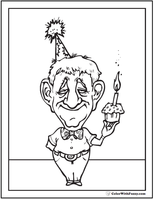 Cupcake for Grandpa Coloring Sheet