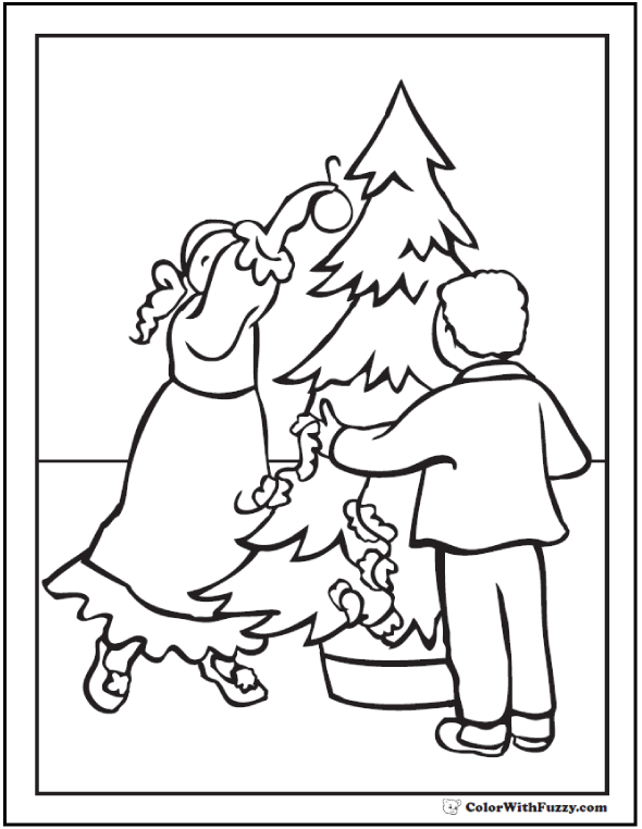 Decorating Christmas Tree Coloring Sheet