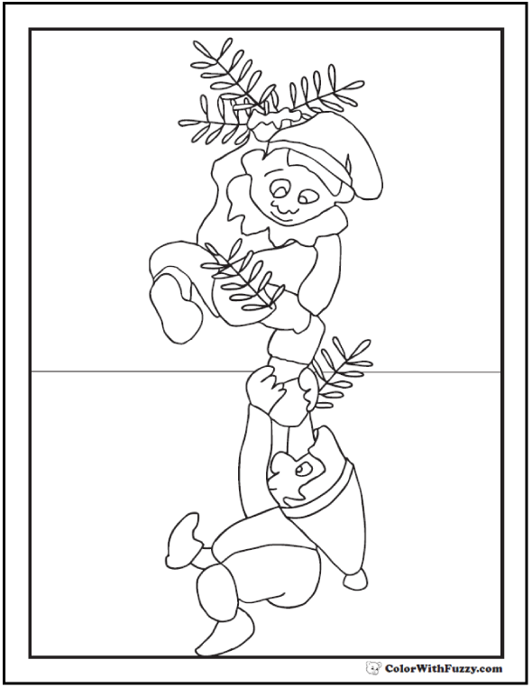 Elf Coloring Pages: Climbing the Christmas Garlands