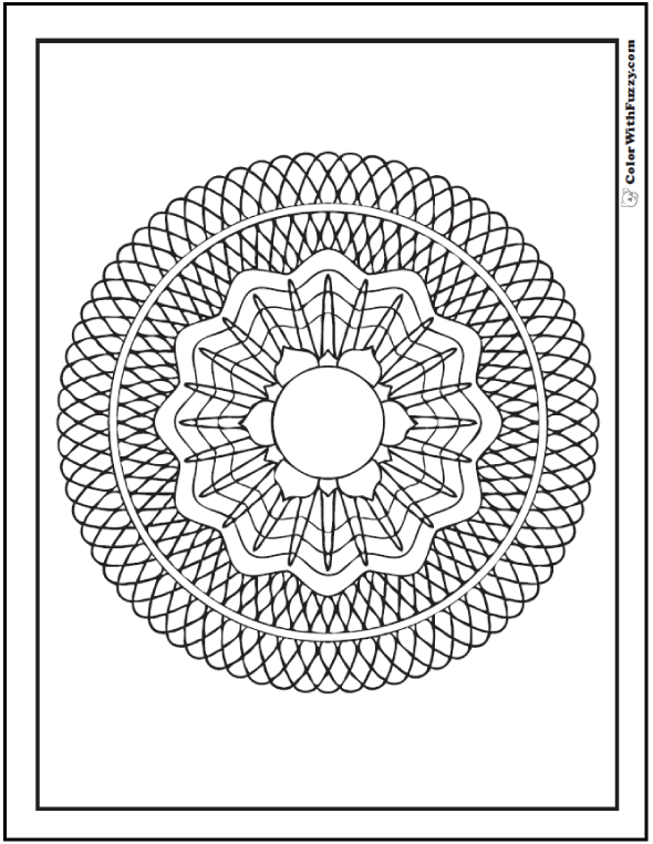 Geometric Flower Coloring Page: Flower on geometric circle designs.