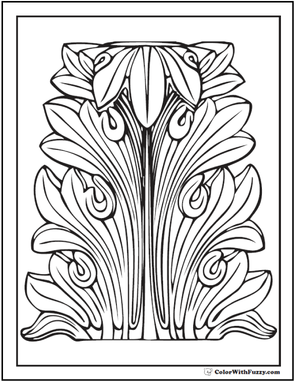 Geometric Leaf Coloring Page: Use this acanthus to teach the color green!