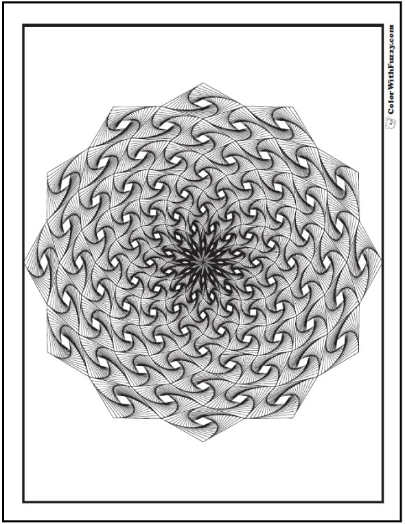 Adult Geometric Pattern Coloring Pages: Swirling starburst with diamonds.