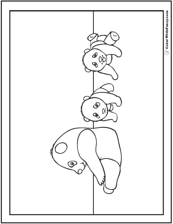 Coloring Picture Of A Giant Panda Family