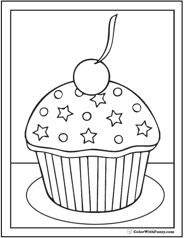 Stars and Cherry Cupcake Coloring