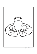 Lily pad frog coloring page.