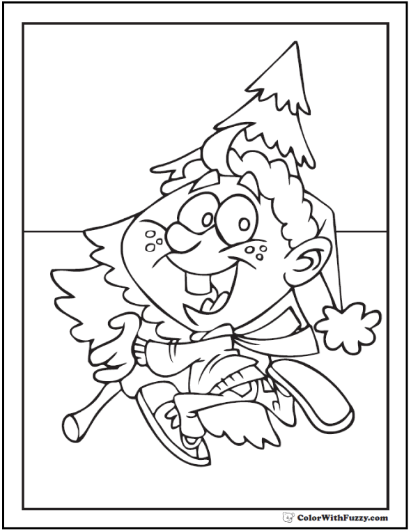 Merry Christmas Kid Coloring: Carrying the tree home.
