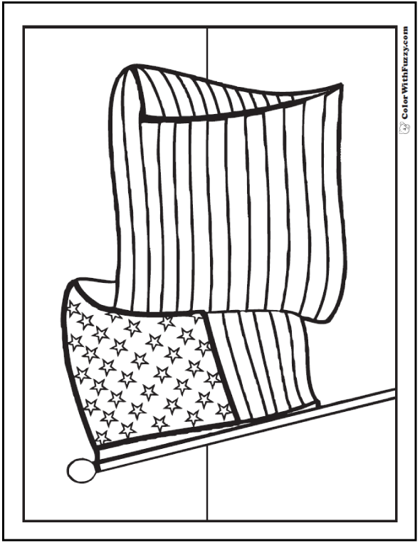 Coloring For Adults: Patriotic Flag Waving