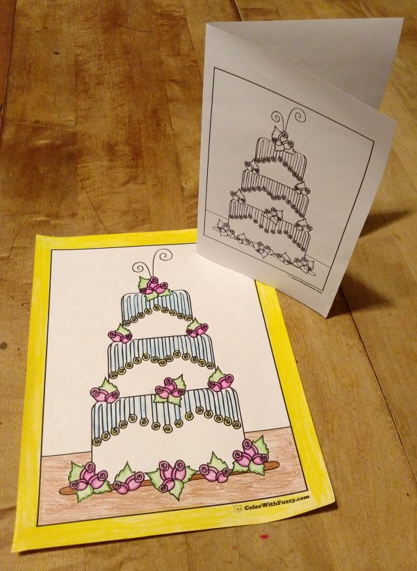 Printable cake coloring page or greeting card.