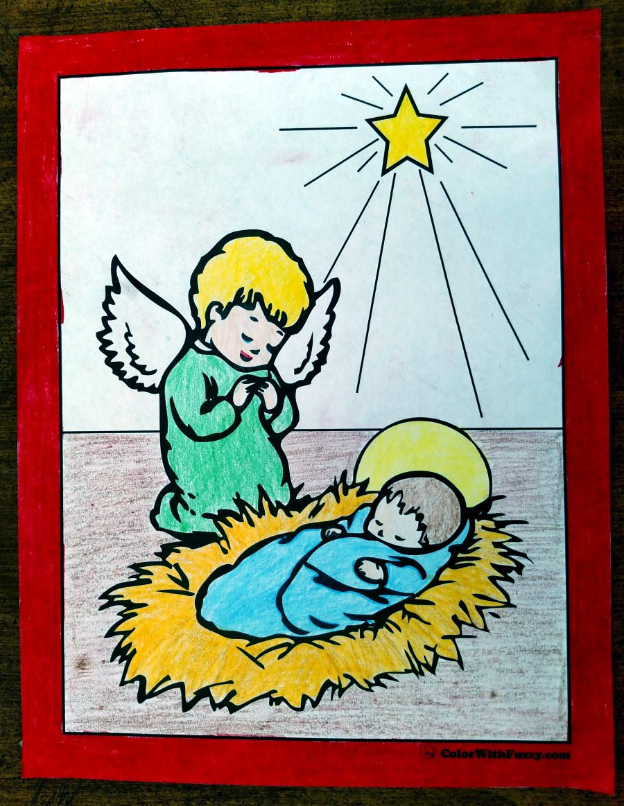Photo Christmas Angel Coloring Pages: Nativity Kneeling Angel, Baby Jesus, and Star
