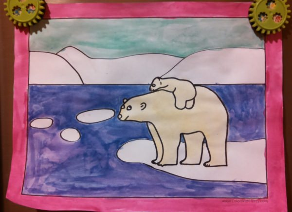 Chilly Polar Bear Coloring Pages! Color the water and sky blue and the bears light yellow.