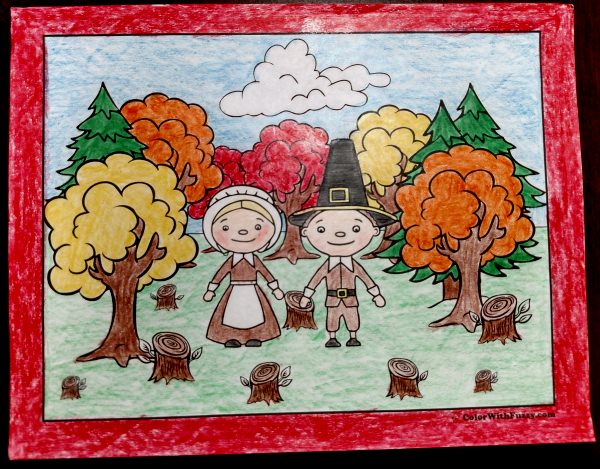 Thanksgiving Coloring Page: Pilgrims In the Woods