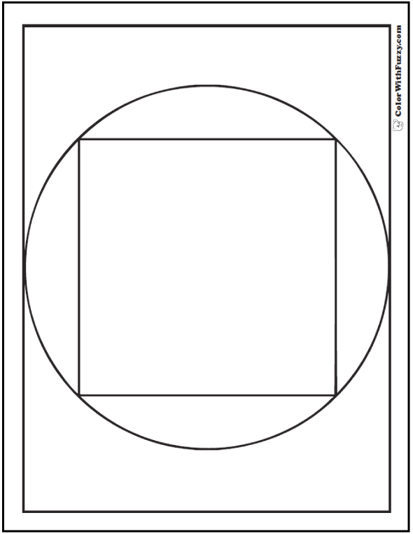 Square In Circle Coloring Sheet