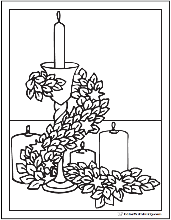 Thanksgiving or Advent candles coloring sheet: stars and leaves garland.