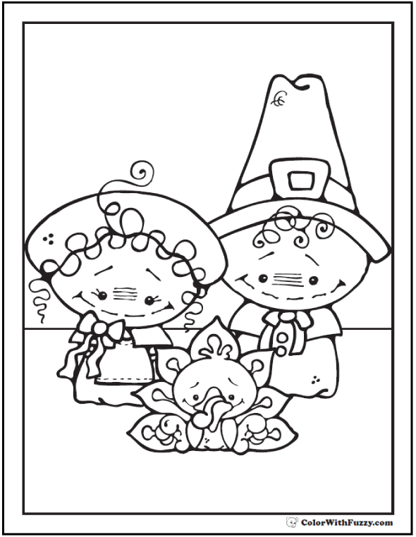 Thanksgiving coloring page: Pilgrims with Turkey