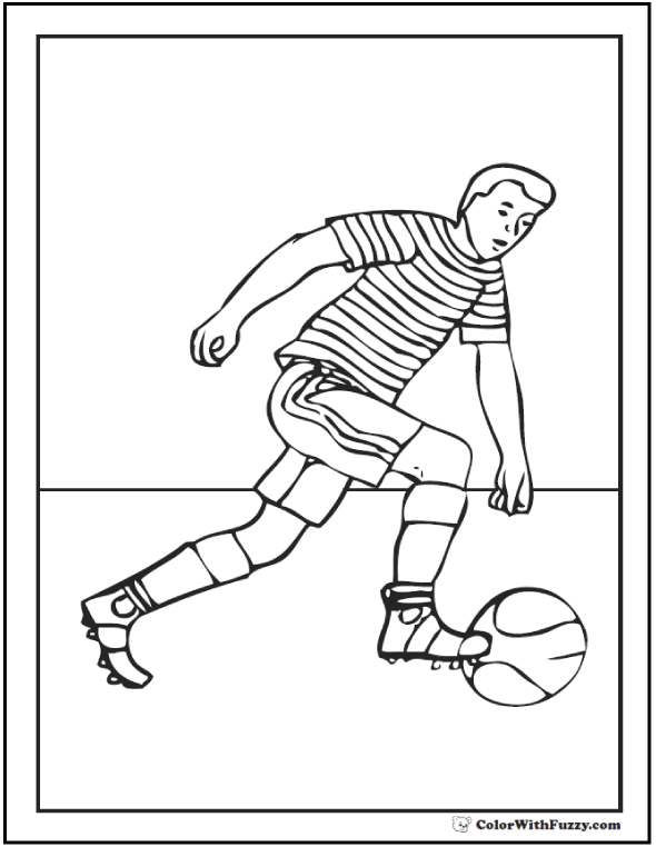 Dribbling Youth Soccer Coloring Pages